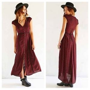 Ecote Gingham Plaid Button Up Maxi Dress